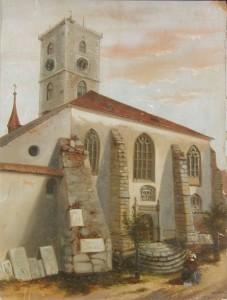 Čáslav kostel 1861 po požáru